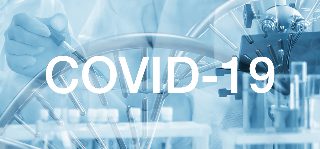 COVID-19 Corona Virus banner image showing scientist and DNA strand